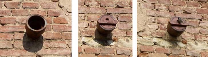 ěkdy stačí obyčejná nevyužívaná větrací roura ve zdi… Vlevo v původním stavu, vprostřed s dřevěnou ucpávkou, vpravo i s obyvatelem (sýkora uhelníček).