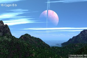 Obyvatelný měsíc 16 Cygni Bb.  Zdroj: Exoplaneten.de/Christoph Kulmann